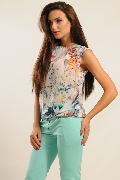 """Блуза """"Китти"""" белый цветы"""