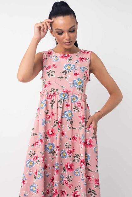 """Платье """"Лилиан"""" розовый цветы"""