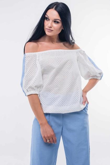 "Блуза ""Лукия"" белый с голубым"